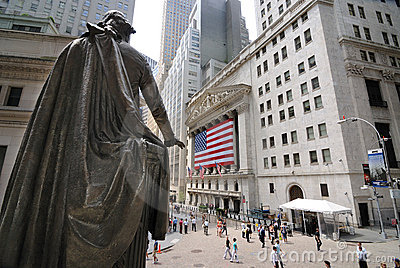 Federal Hall and Wall Street Editorial Photo