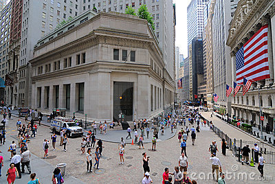 Federal Hall and Wall Street Editorial Stock Image