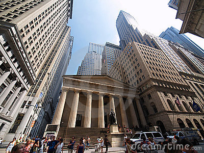 Federal Hall Wall Street, financial district, New Editorial Stock Photo