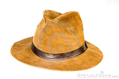 Fedora style hat suede leather
