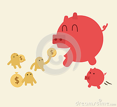 Feed pig with coins. Piggy bank have small son.