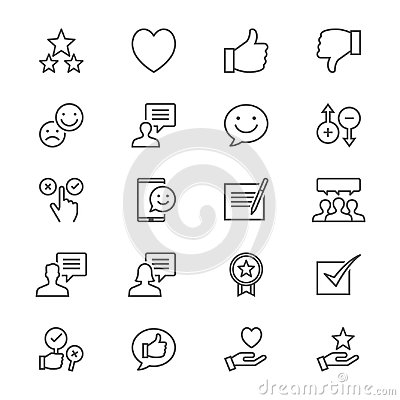 Free Feedback And Review Thin Icons Stock Photos - 100547573