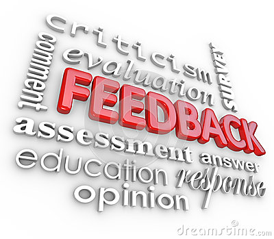 Feedback 3D Word Collage Evaluation Comment Review