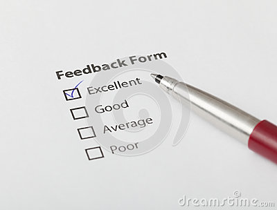 Feedback form checked with excellent