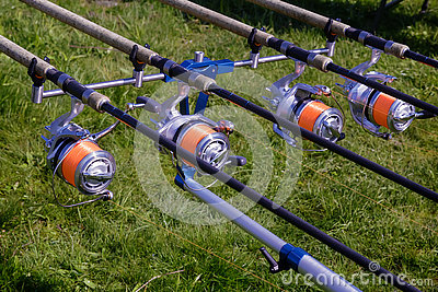 feeder - english fishing tackle for catching fish. stock photo, Fishing Reels
