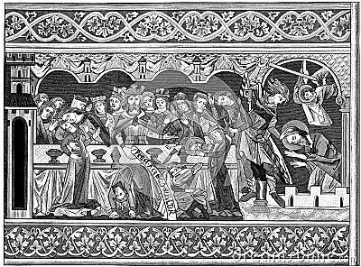 Feest van het af:drukken van de Houtsnede Herod Redactionele Foto