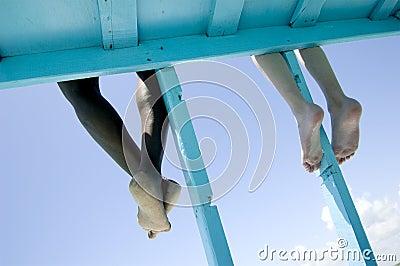 Feet hanging