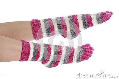 Feet with socks on