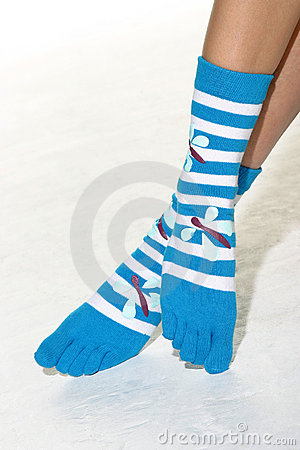Feet with striped toe socks