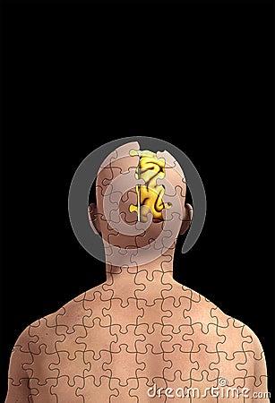 Fehlendes Stück des Verstandes mit Gehirn