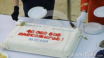 Feierlicher Kuchen für Aeroflot-Fluglinie stock footage