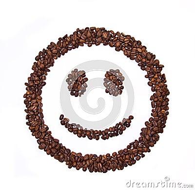 Feijões de café dados forma sorriso