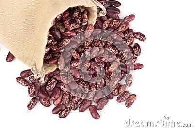 Feijões em um saco de linho