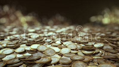Feld des Euros prägt die Kamera fliegt über ein Feld von Euromünzen lizenzfreie abbildung