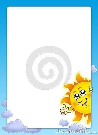 Feld mit Karikatur lauernder Sun