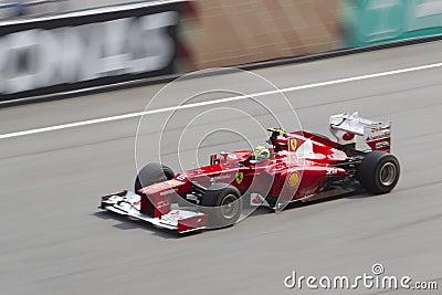 Felipe Massa down the main straight Editorial Stock Photo