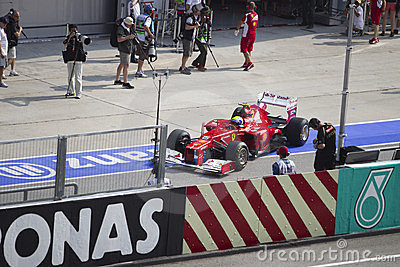 Felipe Massa leaves his pit garage Editorial Photography