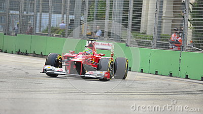 Felipe Massa racing in F1 Singapore GP Editorial Photography
