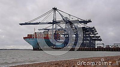 FELIXSTOWE, VEREINIGTES KÖNIGREICH - 27. JANUAR 2019: Thalassa Doxa-Containerschiff an der Felixstowe-Seeseiteüberschrift in Rich stock video