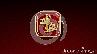 2020 Feliz Año Nuevo chino Traducción de la tipografía rata diseño de personajes dorados para fiestas tradicionales Saludos libre illustration