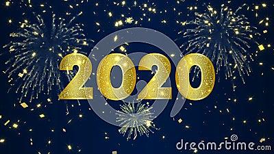 Feliz Año Nuevo 2020, tarjeta de video de fuegos artificiales de oro metrajes