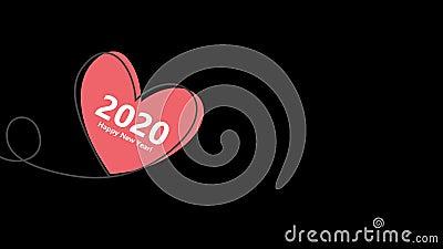 Feliz Ano Novo 2020 com balão em forma de coração em linhas de desenho contínuas e coração vermelho reluzente em estilo plano em vídeos de arquivo