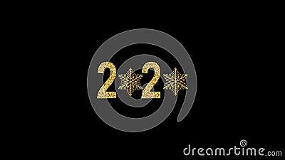 Feliz Ano Novo Número de Ouro 2020 Design de ouro brilhante com flocos de neve brilhantes e dourados Animação com Alfa vídeos de arquivo