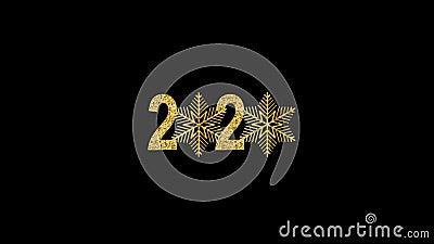 Feliz Ano Novo Número de Ouro 2020 Design de ouro brilhante com flocos de neve brilhantes e dourados Animação com Alfa filme
