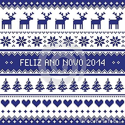 Feliz Ano Novo 2014 - protuguese happy new year pattern