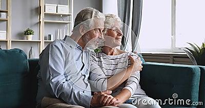 Feliz casal de idosos olhando no futuro falando relaxando no sofá video estoque