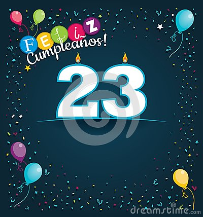Free Feliz Cumpleanos 23 - Happy Birthday 23 In Spanish Language - Greeting Card With White Candles Stock Images - 114253724