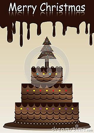 Feliz Natal com bolo de chocolate