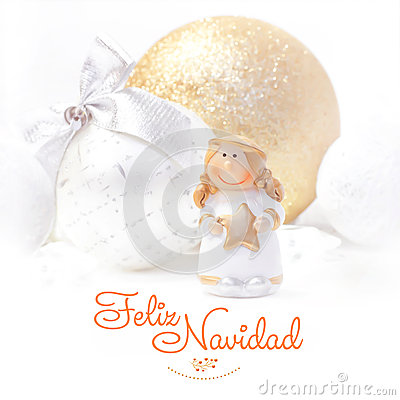 Free Feliz Navidad. Christmas And New Year Background 2017.  Golden Angel. Christmas Tree Toy. Royalty Free Stock Photo - 79242385