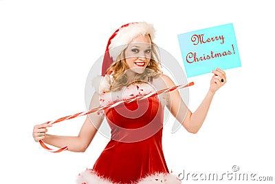 Feliz Navidad del contacto atractivo encima de señora Papá Noel