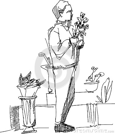 fellow with a bouquet