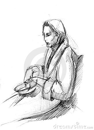 fellow in a dressing-gown with a dish