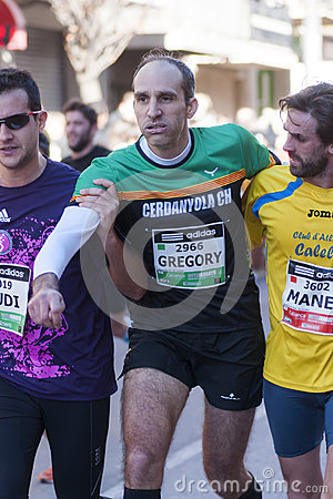 Fellowship among runners, Mitja Marato Granollers Editorial Photography