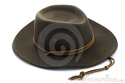 Felt cowboy hat on white background