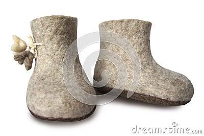 Felt soft gray boot isolated