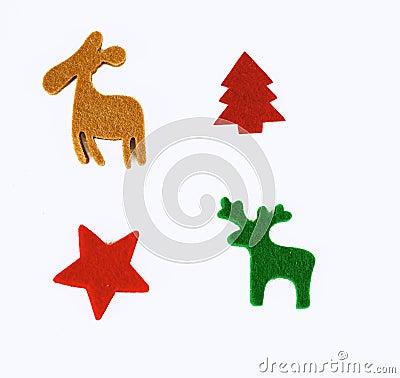 Felt stencil of christmas symbols