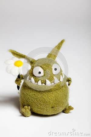 Free Felted Toy Mosters With Flower Stock Image - 28777271