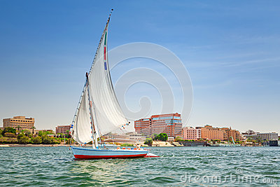 Felucca on the Nile river in Luxor Editorial Stock Photo