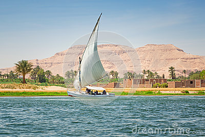 Felucca on the Nile river in Luxor Editorial Image