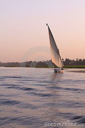 Felucca sailing on river Nile