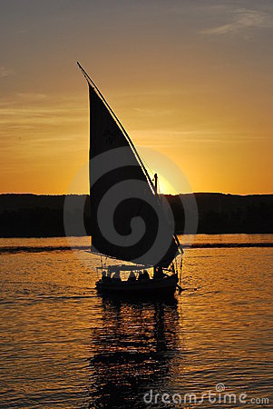Feluka ride at sunset in Aswan