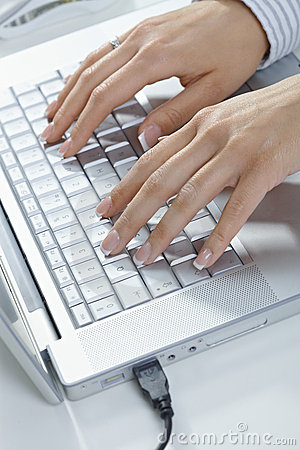 Femal hands typing
