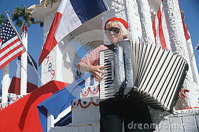A female accordion player Editorial Photography