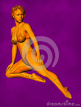 Female Acupuncture Model GF-POSE Bwc-v5-02-3, 3D Illustration Stock Photo
