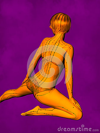 Female Acupuncture Model GF-POSE Bwc-v5-02-6, 3D Illustration Stock Photo