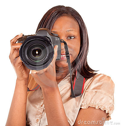 Female African American Photographer Shooting You